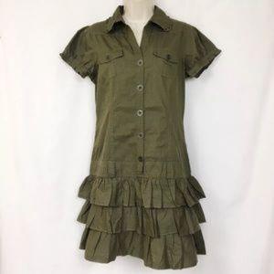 Venus Military Mini Dress Ruffled Olive Green 8